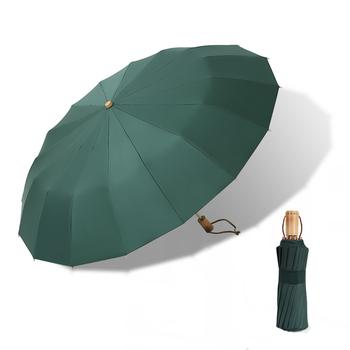 Vintage Parasol 16 kości światła stopu aluminium deszczowy stałe składane wiatroszczelna duży Parasol mężczyźni deszcz kobiety prezent Parasol tanie i dobre opinie CN (pochodzenie) 48-53 cm promień Parasole WOOD Pongee Nie-automatyczny parasol Dorosłych Trzy składane parasol
