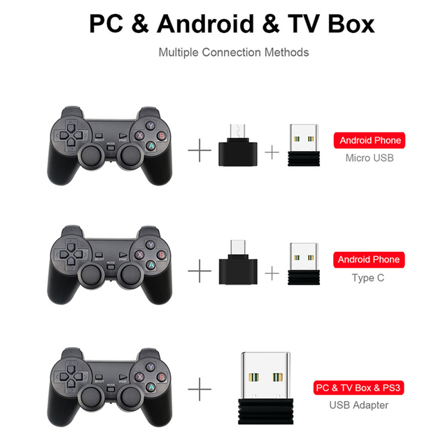 Wireless Gamepad PC For PS3 Android Phone TV Box 2.4G Wireless Joystick 3