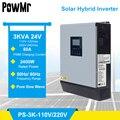 3KVA чистая синусоида гибридный солнечный инвертор 24V 220V 110V Встроенный PWM 50A Солнечный контроллер заряда и зарядное устройство переменного то...