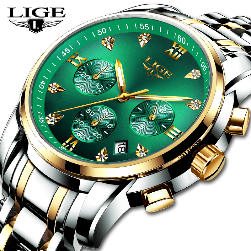2020 New LIGE Men Watches Luxury Top Brand Stainless Steel Sport Quartz Wristwatch Men Fashion Date Waterproof Chronograph 10020