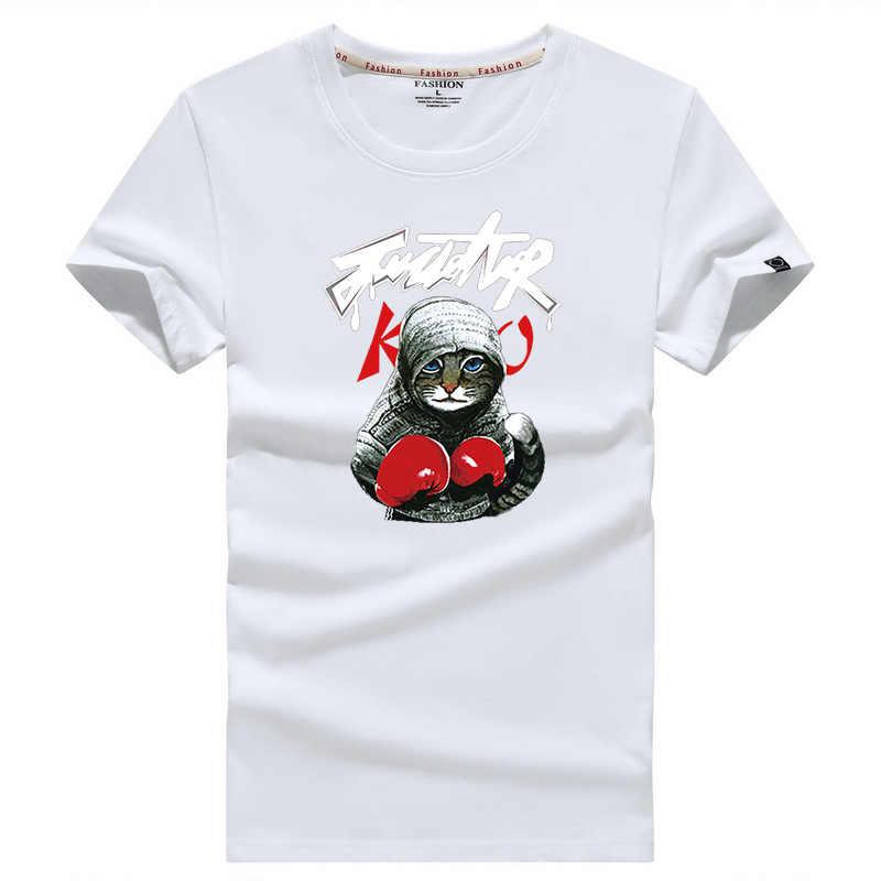 ホット販売最新 2019 夏のメンズ Tシャツファッションブランドカンフー猫プリントコットン tシャツメンズカジュアルショートスリーブ Tシャツトップス