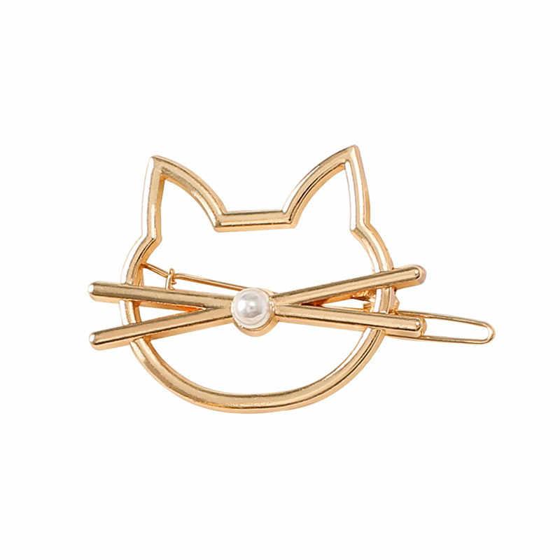 Baru Jepit Rambut untuk Wanita Moon Kucing Hati Jepit Rambut Sederhana Golden Silver Jepit Rambut Aksesoris Alat Styling Gadis Fashion Hadiah