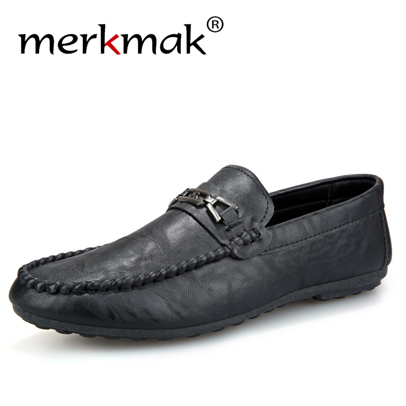 Merkmak Big Size 39-44 Men Loafers Fashion Slip-on Men Boat Shoes Brand New Men Casual Leather Shoes Male Flat Shoes For Party