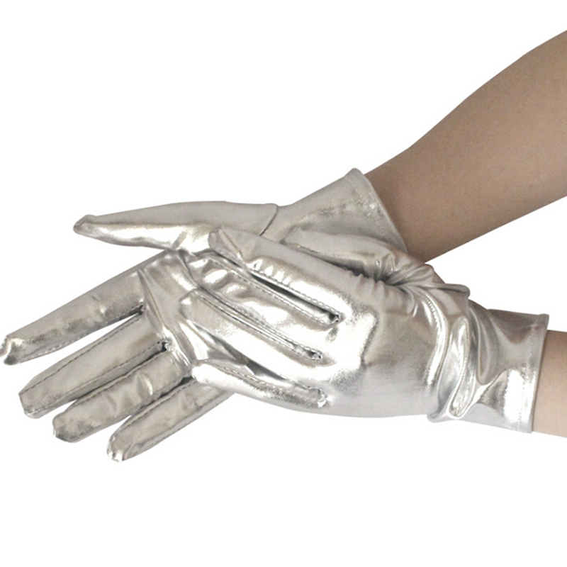 1 Pair Women Wet Look Fake Leather Metallic Glove Silver Sexy Wrist Length Latex Gloves Evening Party Stage Performance Mittens