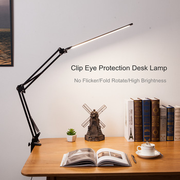 New LED Folding Metal Desk Lamp Clip on Light Clamp Long Arm Dimming Table Lamp 3 Colors For Living Room Reading Office Computer 1