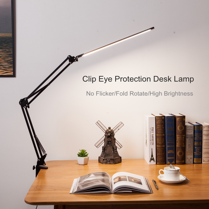 New LED Folding Metal Desk Lamp Clip on Light Clamp Long Arm Dimming Table Lamp 3 Colors For Living Room Reading Office Computer|Desk Lamps| - AliExpress