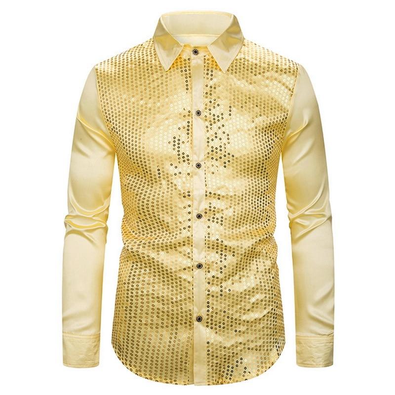 HEFLASHOR Gold Sequin Glitter Shirts Men 2019 New Fashion Night Club Silk Satin Camisa Slim Fit Stage Disco Singer Chemise Homme
