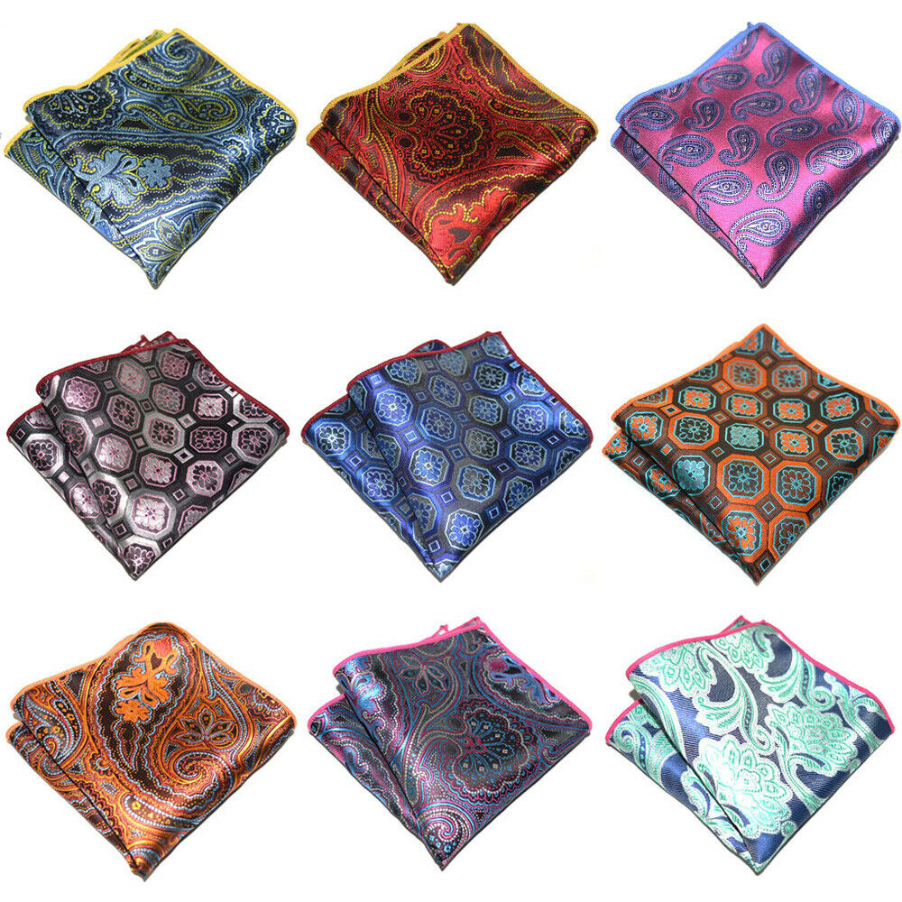 9 PCS Men's Geometric Paisley Pocket Square Wedding Party Handkerchief Hanky YXTIE0311A