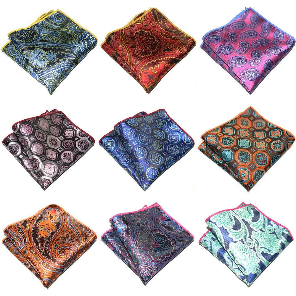 9 PCS Men's Geometric Paisley Pocket Square Wedding Party Handkerchief Hanky YXTIE0311A