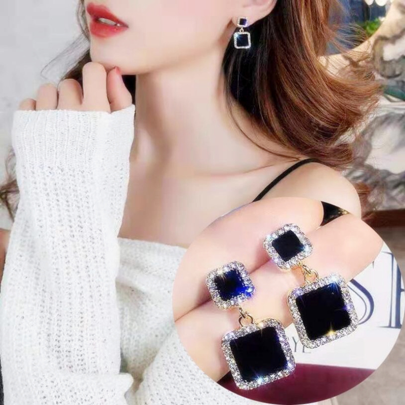 Korean Jewelry Fashion Gold Statement Earrings 2019 Black Square Geometric Earrings For Women Luxury Crystal Wedding Earrings