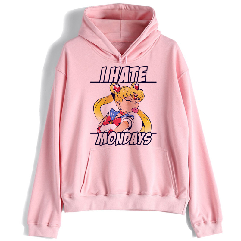Sailor Moon Hoodie Harajuku Streetwear Korean Ulzzang Sweatshirt Kawaii 90s Cartoon Pullovers New Clothing Oversized Hooded