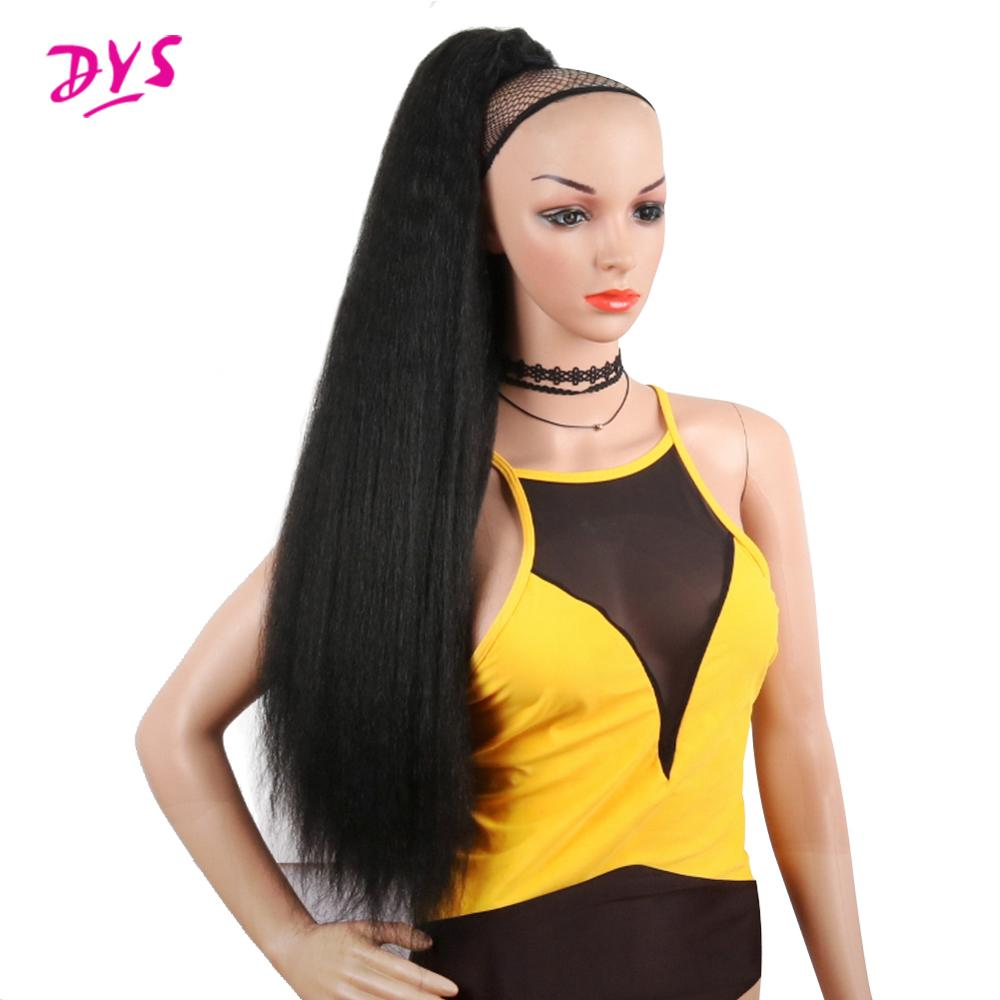 Deyngs Long Yaki Synthetic Ponytail 30 Inch 120g Long Draw String Ponytail With Clips In High Puff Ponytail Hair Exte