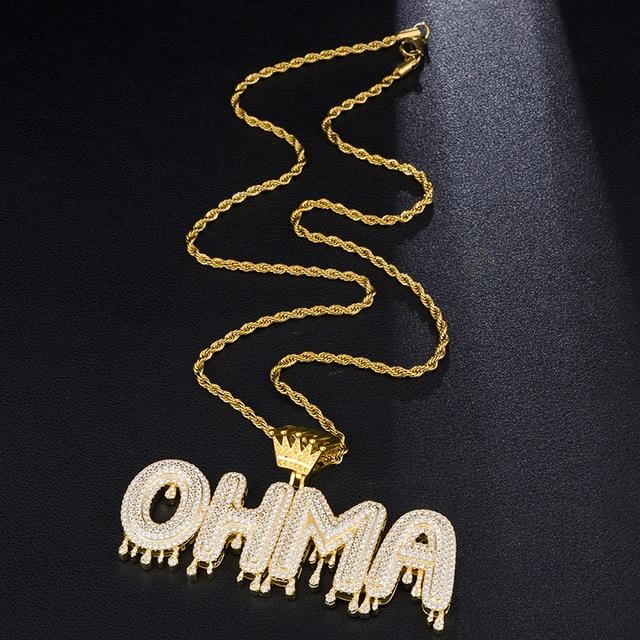 Spécial couronné goutte à goutte lettre pendentif personnalisé bulle lettres initiales combinaison couleur or mots nom OEM lien