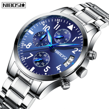 цена на NIBOSI Relogio Masculino Mens Watches Luxury Brand New Design Chronograph Sport Men Watch Full Steel Waterproof Quartz Watch Men