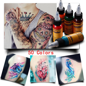 50PCS 30ML Tattoo ink set Permanent Makeup Coloring pigment Eyebrows Eyeliner Tattoo Paint Body Makeup Ink Tools