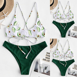 Bikini Sexy Women Avocado Printing Bikini Set  Print Padded Swimwear Bathing Swimsuit Beachwear  Bathing Suit strój kąpielowy 3