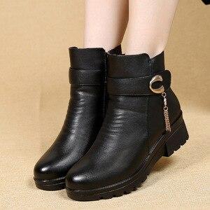 Image 3 - GKTINOO ฤดูหนาวรองเท้าผู้หญิงรองเท้าหนังแท้ส้นลื่นรองเท้าสตรีขนาดใหญ่แม่ WARM BOOT famale Snow BOOTS