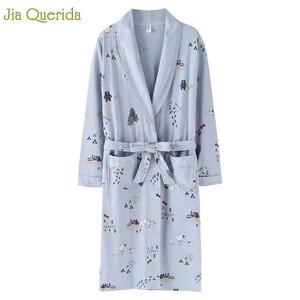 Image 1 - Kimono New Arrival Robe For Female Autumn Nightgown Cotton Bathrobe Women Pajamas Long Sleeve Pyjamas For Ladies Plus Size Robes