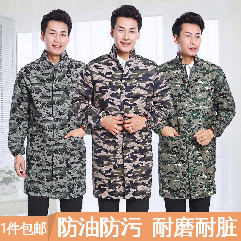 Long Sleeve Long Work Clothes Adults Overclothes Kitchen-Style Apron Men Camouflage Oil Resistant Antifouling Blue Gown With Pro