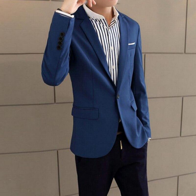 Мужской приталенный Блейзер A 2020, модный однотонный Блейзер на весну и осень, пальто для свадьбы, повседневные деловые мужские костюмы, курт...