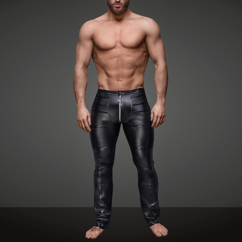 Men Trousers Black Fashion Ankle-Length Patent Leather Zipper Trousers Clubwear Sexy Skinny Performance Pants