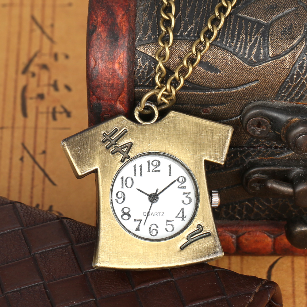 Unique Clothes Shape T-shirt Quartz Pocket Watch Cute Arabic Numerals Dial FOB Necklace Pendant Slim Hanging Chain Sweater Clock