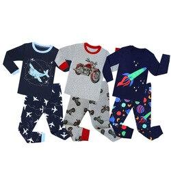 Animal dos desenhos animados meninos conjuntos de pijamas crianças manga cheia algodão infantil meninas unicórnio pijama para 2-8years pijamas crianças