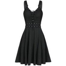 Femmes Mini robes gothique noir Sexy col en V profond 2020 automne Punk sans manches Rivet mode tunique Hip Hop pansement robe féminine #3
