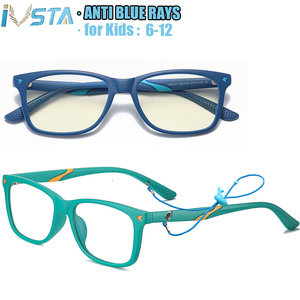 IVSTA Computer Glasses Kids 6-12 Years anti Blue Light with Strap Online School Student Net Class Children Optical Prescription