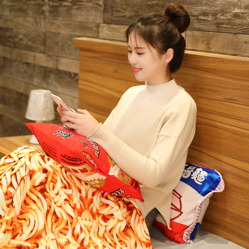 Kawaii Pillow Blanket Simulation Instant Noodles Plush Pillow with Blanket Stuffed Beef Fried Noodles Gifts Plush Food Plush Toy