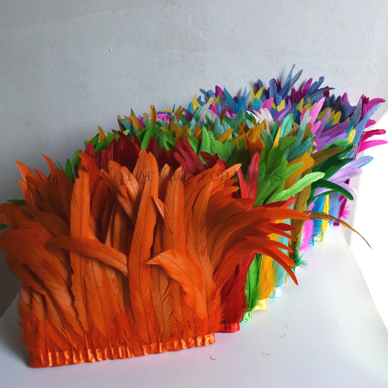 Rooster Hackle Feather Trim 10-12 inch in Width for DIY Sewing Crafts Decoration Orange, 1 Yard