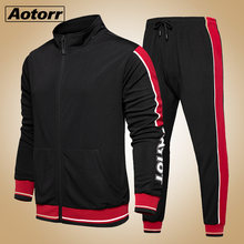 2 Pieces Sets Tracksuit Men spring Autumn Zipper Sweatshirt +Elastic Pants Male Stripe Patchwork Slim Fit Cool Running Sweatsuit(China)
