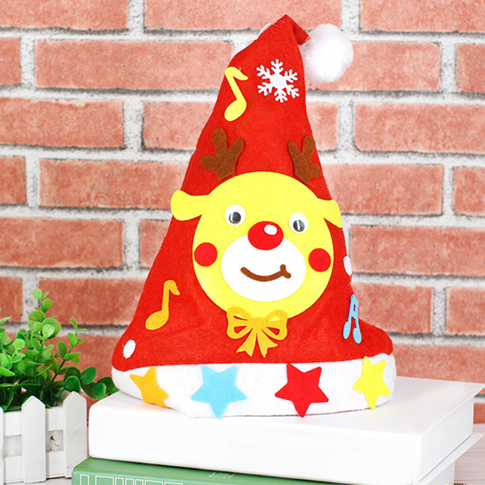 10 Pcs Kids Handmade Diy Christmas Hat Non-Woven Santa Snowman Christmas Party Cosplay Hat Gifts Children New Year Xmas Gift O16