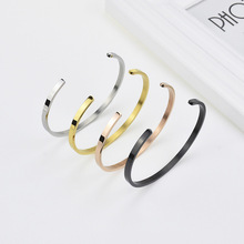 Delicate 4mm Thin Open Cuff Bangles Stainless Steel Smooth Gold Black Rose Gold Men Women Stackable Bracelet Jewelry