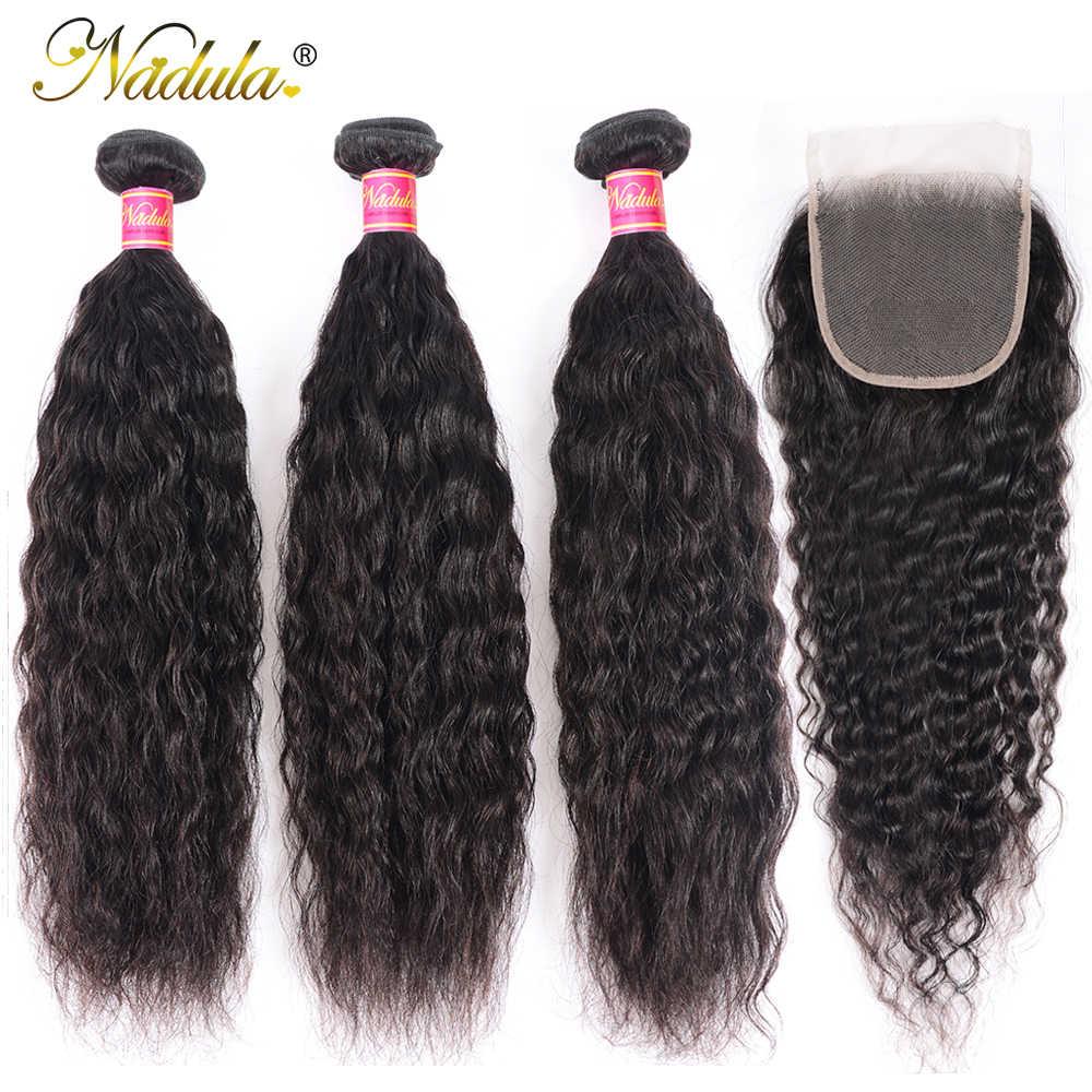 Mechones de cabello de onda súper con cierre, mechones de cabello de nindula, cabello humano Remy con cierre, mechones de cabello peruano con cierre de encaje de 4x4