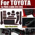 15 adet/takım Toyota PRIUS-C AQUA 2012-2016 için Kauçuk Araba Yuvası Mat Kapı Oluk Ped Kapakları fincan altlığı kaymaz Mat Sağ el sürücü