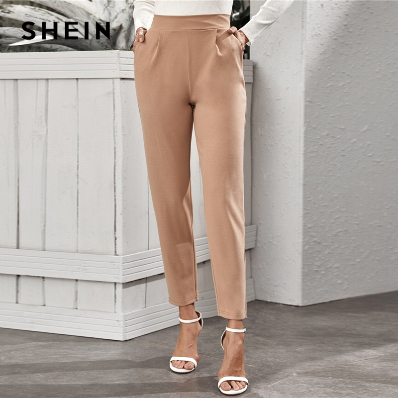 SHEIN Nude High Waist Slant Pocket Tailored Pants Women 2020 Spring Autumn Office Ladies Elastic Waist Elegant Long Trousers 2