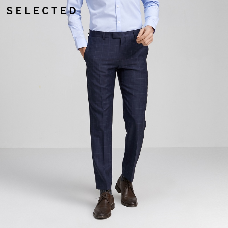 SELECTED Men's Regular Fit 100% Wool Checked Plaid Suit Pants SIG|42016C504