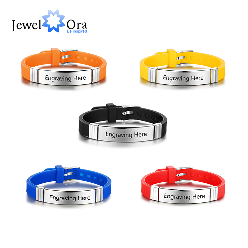Personalized Engrave Name ID Bracelet For Men Adjustable 5 Colors Rubber Bracelets For Women Custom Stainless Steel Jewelry Gift