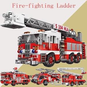 Городской пожарный лестница грузовик спасательные строительные блоки для автомобилей техника пожарный просветить Кирпичи Детские игрушк...