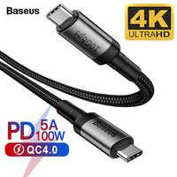 Câble Baseus USB 3.1 Type C à USB C pour MacBook Pro 100W PD Charge rapide 4.0 3.0 USBC chargeur pour Samsung S10 S9 Huawei P30 P20