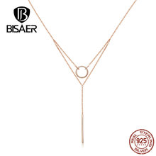 BISAER Necklace New Arrival 100% 925 Sterling Silver Geometric Shape  Pendant For Women Jewelry HVN078