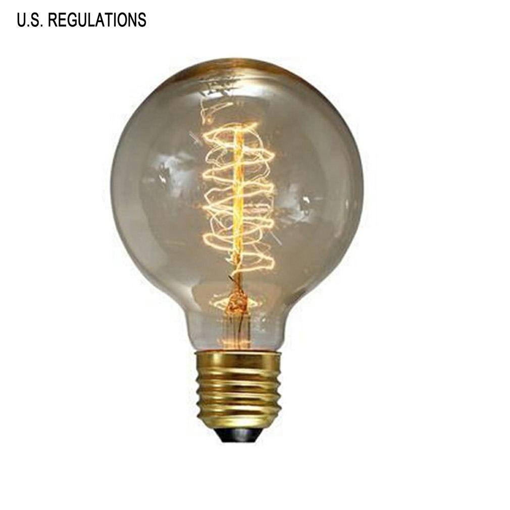 G125 Vintage Retro Edison Bulbs Spiral Light Handmade Glass Industrial Style Tungsten Bulb Pendant Lamps Lighting
