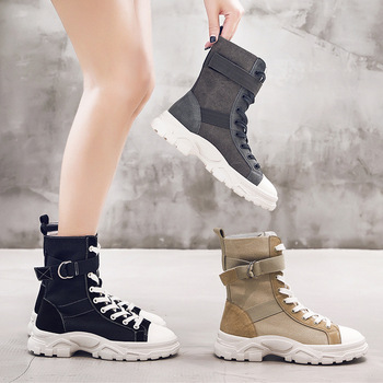 CINESSD Genuine Leather Boots Women Mid Calf Bottes Femme Solid Canves Sneakers Women Boots Platform Spring 2020 Ladies Booties