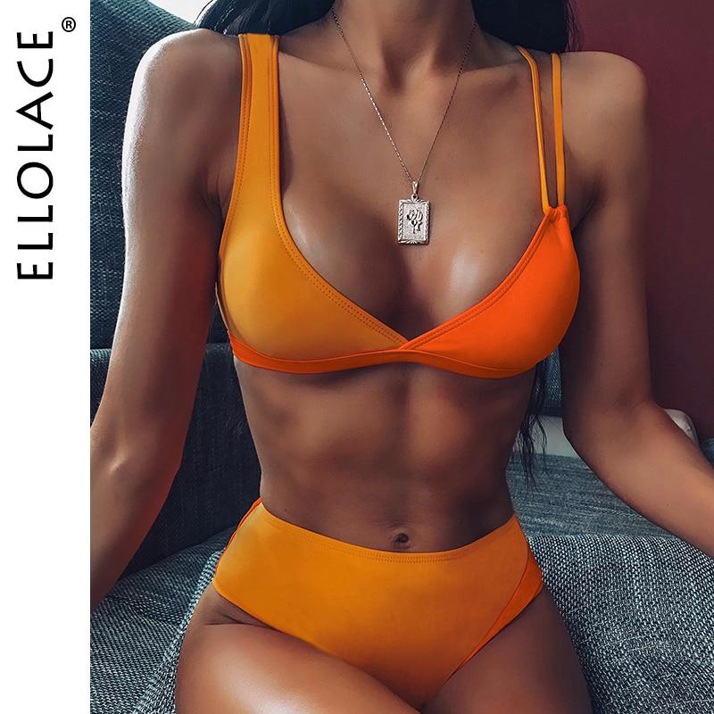 Ellolace пикантные модные оранжевые, из кусков, бикини, с полоской Для женщин с v-образным вырезом Biquini Feminino Монокини Купальный костюм с пуш-ап, ку...