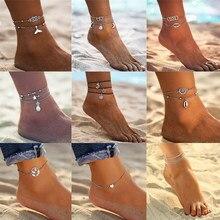 Boho tornozeleira feminina, tornozeleira de multicamadas estilo vintage, corda de praia, pulseira para perna, verão, joia para pés, YC-UPGO