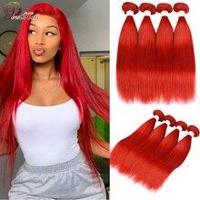 99J Colored Straight Hair 3/4 Bundles Red Human Hair Bundles Brazilian Honey Blonde Bundles Red Hair Bundles Pinshair Remy Hair