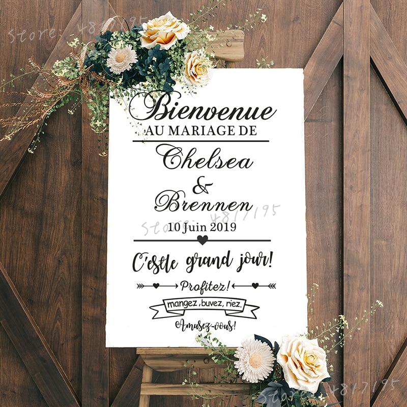 Свадебная наклейка, Виниловая наклейка в французском стиле с именами на заказ, зеркальные фрески для свадьбы и приветствия, украшение для т...