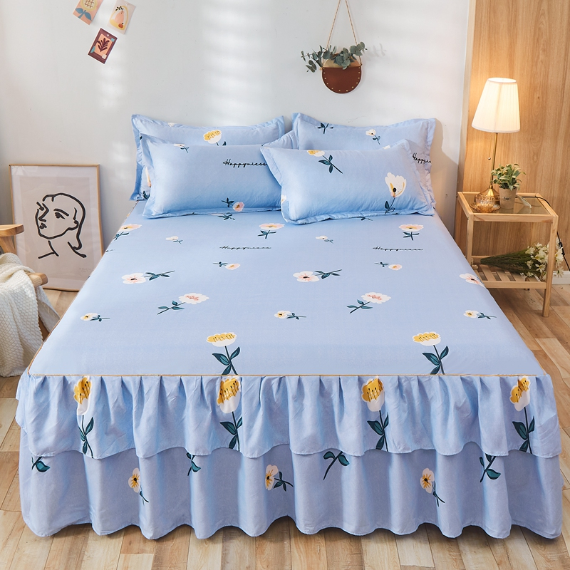 1pcs Quality Thicken Elastic Non-Slip Bedspreads Sheet  Luxury Floral Prints Ruffle Bed Skirt Soft Mattress Cover No Pillowcase