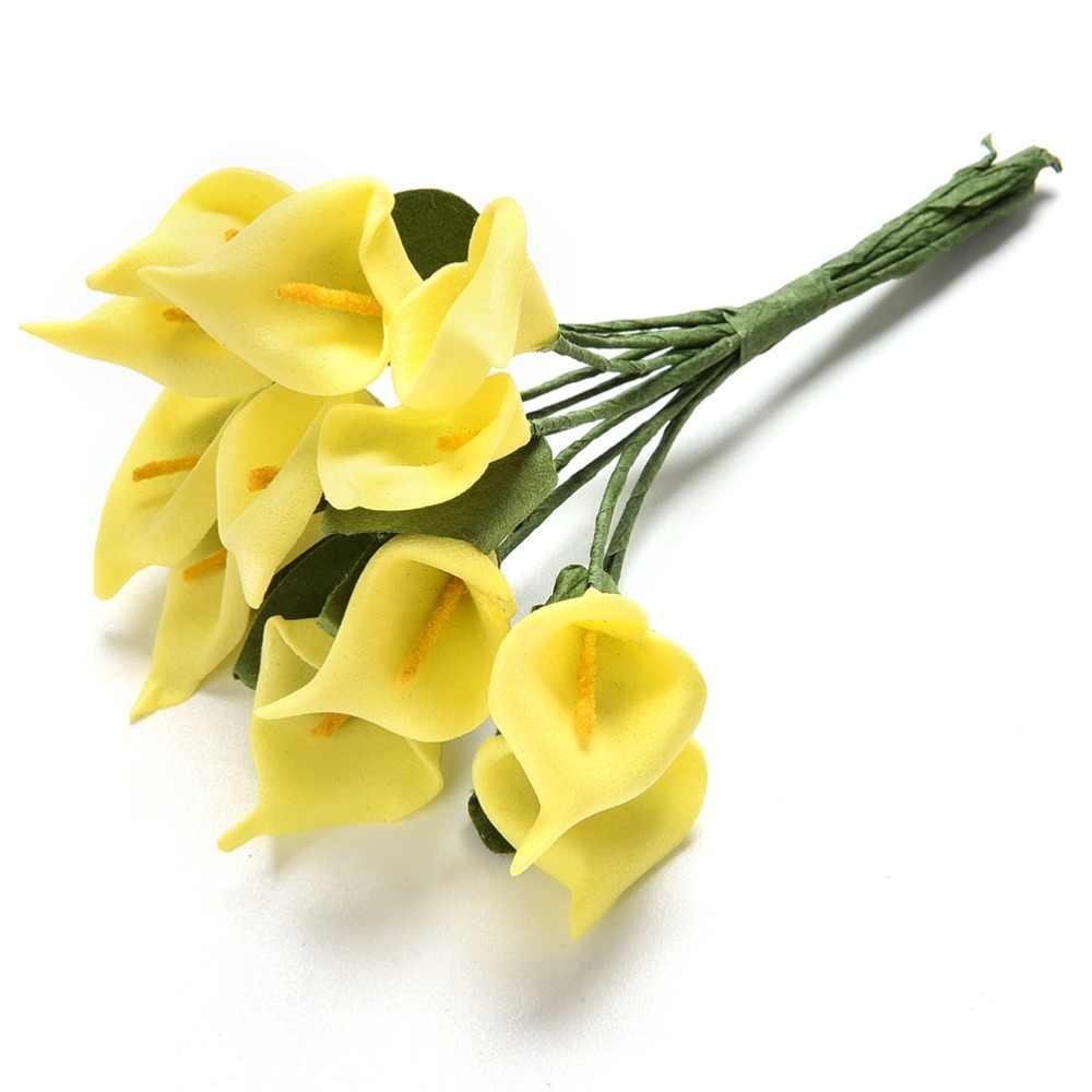 12 ชิ้น/ล็อต MINI ปลอมโฟม Handmake Calla ดอกไม้ประดิษฐ์ดอกไม้งานแต่งงานตกแต่งพวงหรีด Scrapbooking หัตถกรรมดอกไม้